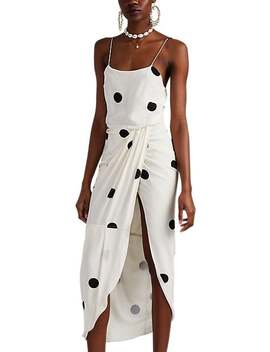 Polka Dot Crêpe De Chine Silk Blend Draped Dress by Derek Lam 10 Crosby
