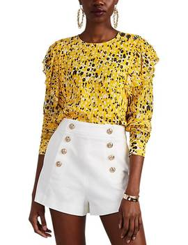 Ruffled Abstract Dot Print Blouse by Derek Lam 10 Crosby