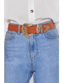 Oversized Pu Gold Buckle Western Belt by Nasty Gal