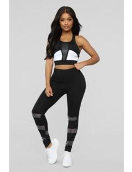 My Mind Is On Track Active Legging   Black by Fashion Nova
