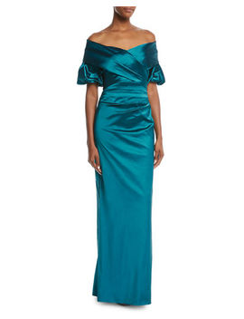 Rickie Freeman For Teri Jon Off The Shoulder Portrait Puff Sleeve Taffeta Evening Gown by Rickie Freeman For Teri Jon