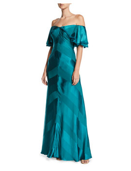 Zac Posen Off The Shoulder Draped Sleeve Tonal Striped Satin Evening Gown by Zac Posen