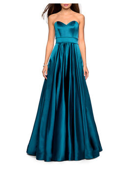 La Femme Strapless Sweetheart Satin Ball Gown With Banded Waist by La Femme