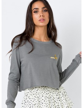 Thrills Route 99 Long Sleeve Crop Faded Grey by Thrills