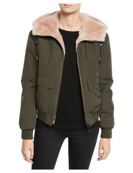Reversible Fur & Nylon Jacket by Yves Salomon   Army
