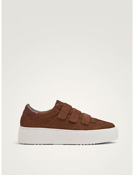 Split Suede Hook And Loop Strap Plimsolls by Massimo Dutti