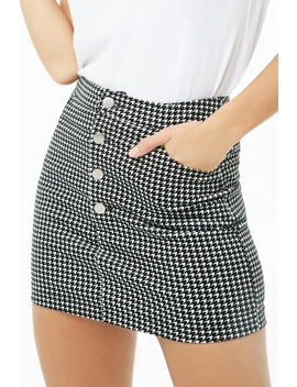 Corduroy Houndstooth Skirt by Forever 21