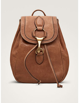 Lobster Clasp Leather Backpack by Massimo Dutti