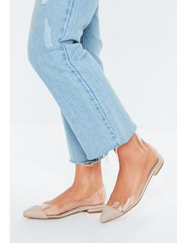 Nude Perspex Ballerina Flat Shoes by Missguided