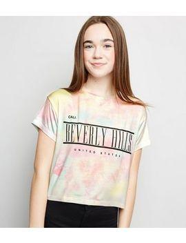 girls-multicoloured-tie-dye-beverley-hill-slogan-t-shirt by new-look
