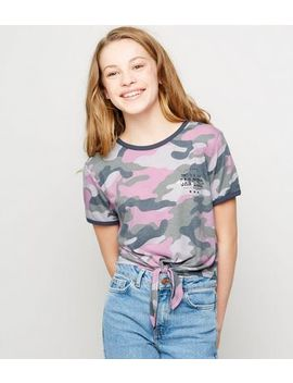 girls-lilac-camo-tie-front-slogan-t-shirt by new-look