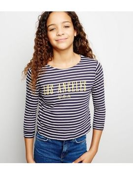 Girls Navy Stripe La Slogan T Shirt by New Look