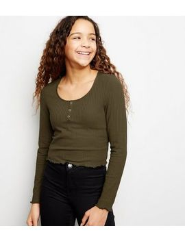 girls-khaki-ribbed-popper-front-long-sleeve-top by new-look