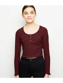Girls Burgundy Ribbed Popper Front Long Sleeve Top by New Look