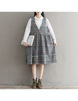 Snow Flower   V Neck Plaid Pinafore Dress by Snow Flower