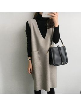 Tiny Times   Set: Turtleneck Long Sleeve T Shirt + V Neck Pocket Detail Pinafore Dress by Tiny Times
