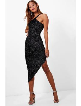 Metallic Velvet One Shoulder Midi Dress by Boohoo