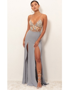 Loveable Gold Lace Maxi Dress In Grey by Lucy In The Sky