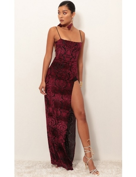 Giana Burnout Velvet Maxi In Wine by Lucy In The Sky