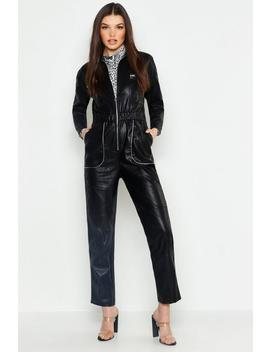 Leather Look Boiler Jumpsuit by Boohoo