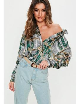 Black Satin Chain Print Oversized Shirt by Missguided