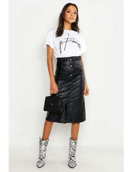 Tall Button Front Faux Leather Midi Skirt by Boohoo