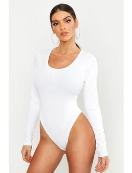 Bandage Rib Scoop Neck Long Sleeve Bodysuit by Boohoo