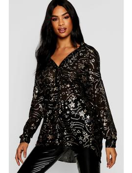 Tall Sheer Star Print Collarless Shirt by Boohoo
