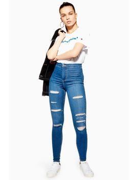 Blue Super Rip Joni Jeans by Topshop