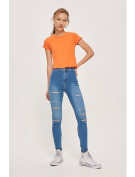 Mid Blue Super Ripped Joni Jeans by Topshop