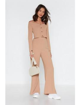 Button Front Linen Pants Set by Nasty Gal