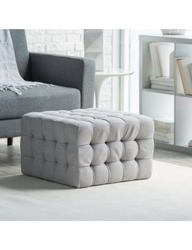 Belham Living Allover Tufted Square Ottoman   Grey by Hayneedle