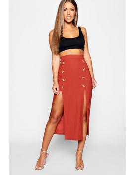 Petite Mock Horn Button Pencil Skirt by Boohoo