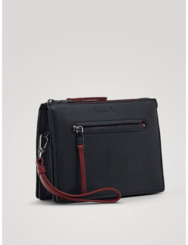 Contrast Leather Toiletry Bag by Massimo Dutti