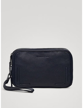 Navy Montana Leather Toiletry Bag by Massimo Dutti