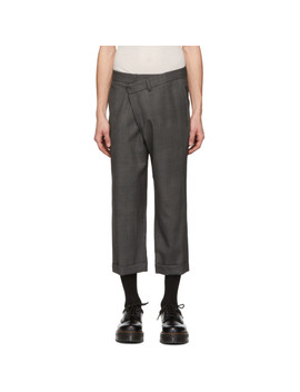 Grey Check Cross Over Trousers by R13