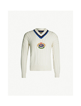 Bedworth Cable Knit Cashmere And Cotton Blend Cricket Jumper by Burberry