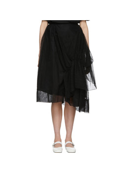 Black Tulle Asymmetric Gathered Skirt by Simone Rocha
