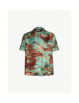 Dragon Print Relaxed Fit Silk Twill Shirt by Givenchy