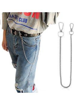 Stainless Steel Long 45cm Punk Hip Hop Trendy Belt Waist Chain Male Pants Chain Men Jeans Punk Silver Metal Trousers Keychain by Aiovlo