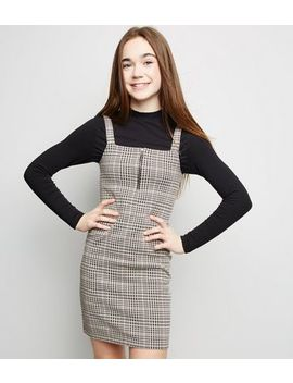Girls Pink Check Zip Bodycon Pinafore Dress by New Look