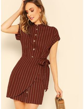 Rolled Cuff Overlap Knot Front Striped Shirt Dress by Shein