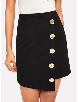 Asymmetrical Hem Button Up Zip Back Skirt by Shein