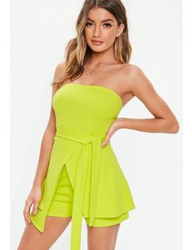 Neon Lime Bandeau Tie Front Skort Playsuit by Missguided