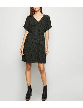 Green Spot Print Belted Tunic Dress by New Look