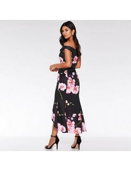 Quiz   Black And Pink Bardot Floral Print Fishtail Midi by Quiz