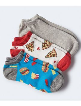 3 Pack Pizza, Burgers &Amp; Solid Ankle Socks by Aeropostale