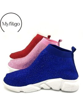 Platform Sneakers Women Knitted Shoes Woman Running Sport Breathable Shoes Blingbling Rhinestone Women Sneakers Spring Femme by Myfitgo
