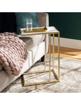Modern Chic White Faux Marble & Gold C Table by Pier1 Imports