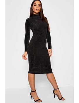 Long Sleeve Turtle Neck Glitter Midi Dress by Boohoo